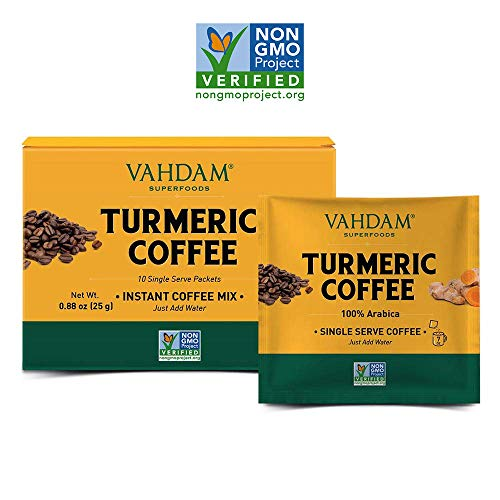 VAHDAM, Turmeric + Coffee Superfood Elixir Mix Powder - 10 Servings | Instant Coffee Mix with Turmeric | Arabica Coffee Blended with Active Turmeric | Turmeric Latte | Vegan, Keto- Friendly, Non- GMO