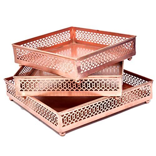 Jaipur handicrafts hub Lot de 3 plateaux de service carrés en cuivre pour table basse et courrier