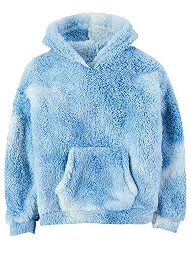 Gemijacka Pullover Kinder Kapuzenpullover Unisex Teddy-Fleece Sweatshirt mit Kapuze Jungen Mädchen Plüsch Winter Hoodie Tie Dye Blau 140 cm