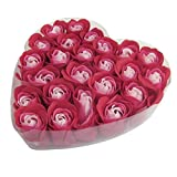 24 Pcs Red Scented Bath Soap Rose Petal in Heart Box