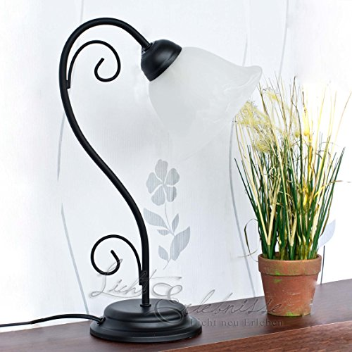 Elegante Tischleuchte ATHEN Landhausstil Rustikal in Schwarz Weiß Tischlampe Schreibtisch Nachttisch