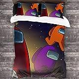 YOMOCO Among-Us Ropa de cama de 3 piezas, 1 funda nórdica y 1 funda de almohada para los amantes de los juegos (US 3,135 x 200 cm + 50 x 75 cm x 2)