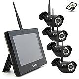 SCHMIDT security tools Funk-Überwachungssystem 4X Kamera mit 9' Touch-Monitor HD Videoüberwachungsanlage Drahtlos Überwachungsset Sicherheitssystem 500GB HDD Festplatte