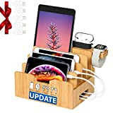 Bamboo Charging Station forMultipleDevices with Integrated iWatch & AirPod Stand, Desktop Charging Docking