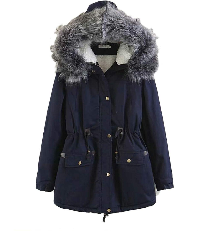 Keaac Women Warm Faux Fur Hooded Winter Thicken Coats Parka Jacket