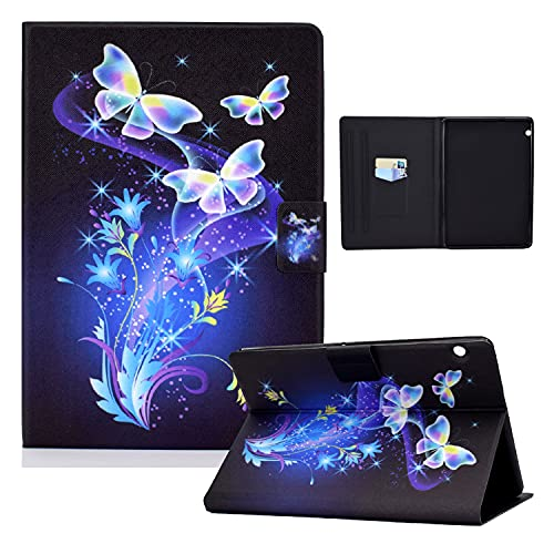 zl one Compatible con/Reemplazo para Tablet PC Huawei Mediapad T5 10 'PU Cuero Flip Cover Stand Wallet Case (Butterflies Flowers)