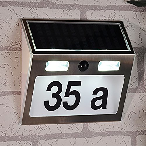 LED roestvrij staal Solar huisnummer met bewegingsmelder huisnummerlamp buitenverlichting B15,5 x T4,5 x H18 cm
