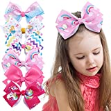 6Pcs 5' Large Hair Bows Clips for Girls, 5 Inches Handmade Hair Bows Alligator Clips for Girls Unicorn Mermaid Grosgrain Ribbon Hair Barrettes Accessories for Toddler Kids Girls