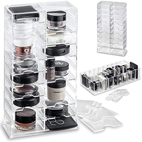 byAlegory Acrylic Makeup Stand Organizer w/ Removable Dividers 20 Space Storage for Pigment, Pots, Eyeshadows Designed To Stand & Lay Flat - Clear