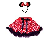 Girl's Polka Dot 2 Layers Tutu with Ruffle Trim & Headband Set (Medium-RB) Red
