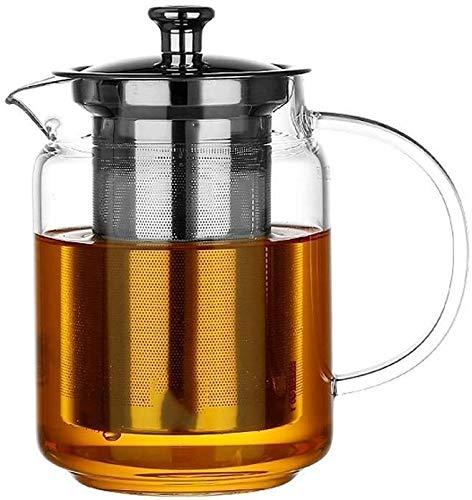 Teteras Transparente Vidrio Resistente al Calor de la Fuga de té con la Seguridad de la Estufa de la manija para la Oficina en casa al Aire Libre JXLBB