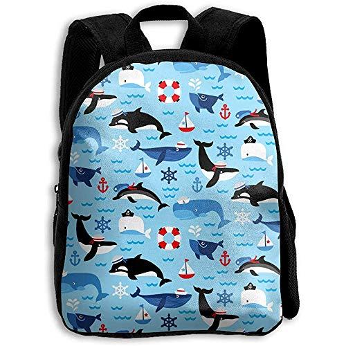 Schulranzen,Nautical Sea Life Orca Whales Rucksack, Reisetaschen Schultasche Für Travel Climbing Running