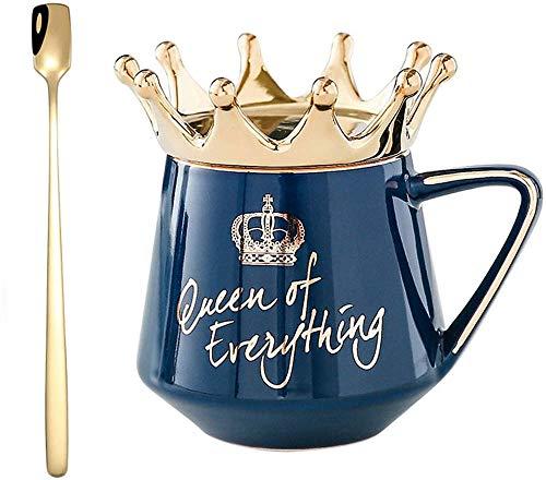 2021 Neue süße Kaffeetasse & Teetassen mit Queen Crown Deckel und Löffel, handgefertigte Crown Queen Teetasse Keramik Kaffeetasse, Ideen Geburtstagsgeschenke für Frauen Mädchen (Dunkelblau)