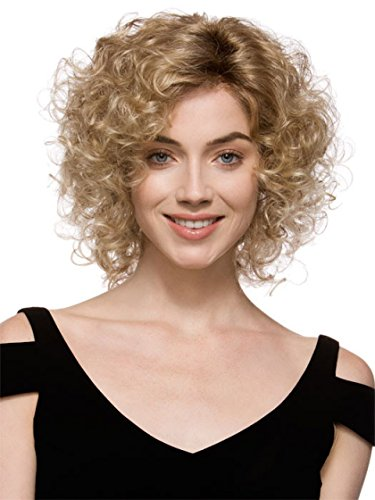 GNIMEGIL Short Curly Light Blond Wigs for Black Women Synthetic Hair Brown Ombre to Blonde Afro Kinky Curly Wig Hairstyle Look Same with Human Hair Bad Sandy Costume Party Wig Cosplay