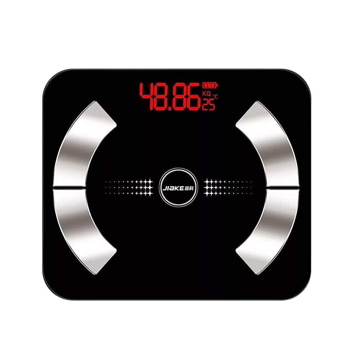 刺繍つなぐ短くするIntercorey Intelligent Electronic Weight Scale Charging Multi-Functional Health Scale Weight Body Fat Measurement Tempered Glass Black