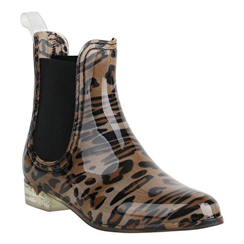Damen Schuhe Lack Stiefeletten Gummistiefel Chelsea Boots 156880 Leopard Braun Schwarz 36 Flandell