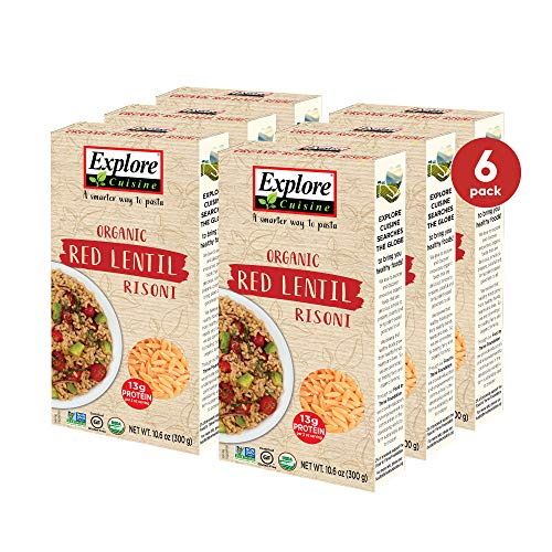 Explore Cuisine Organic Red Lentil Risoni (6 Pack) - 10.6 oz - Easy to Make Gluten-Free Pasta - High Protein - USDA Certified Organic, Non-GMO, Vegan, Kosher - 16 Total Servings - 30 Total Servings