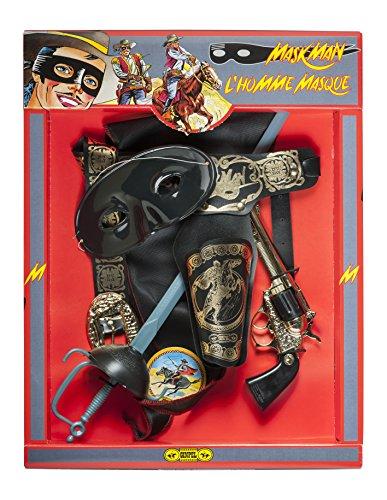 Villa Zorro Mascherina Spada Pistola Fodero Set Travestimento 305, Multicolore, 8000077010874