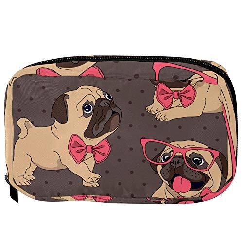 TIZORAX Cosmetic Bags Bulldog Avec Pink Bow Hlasses Handy Toiletry Travel Bag Organizer Makeup Pouch for Women Girls