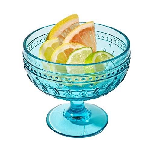 Euro Ceramica Fez Collection Drinkware and Glasses, 13oz Martini Dessert Bowl Set of 4, Teardrop Mandala Design, Turquoise