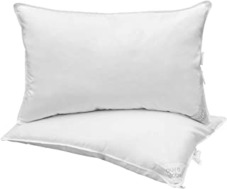 puredown White Natural Goose Down Pillow Insert with Downproof Cotton Shell, 48cm*74cm, Set of 2