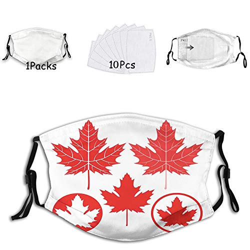 Monochrome Canadian Flag Motif with Different Design North Dust Washable Reusable Filter and Mouth Warm Windproof Cotton Face (10 Fillters)