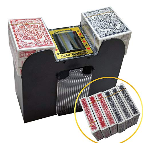 SK CASA 6 Deck Automatic Card Shuffler with Playing Cards - Battery-Operated Electric Shuffler - Great for Home & Tournament Use for Classic Poker & Trading Card Games
