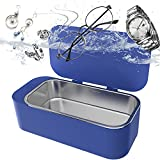 Ultrasonic Jewelry Cleaner,15.2 Ounces Tank,Small Portable Jewelry Cleaner Ultrasonic Mini Personal Household 3minutes Sonic Cleaning for Makeup Brush/Ring/Eyeglass IGOKOTI