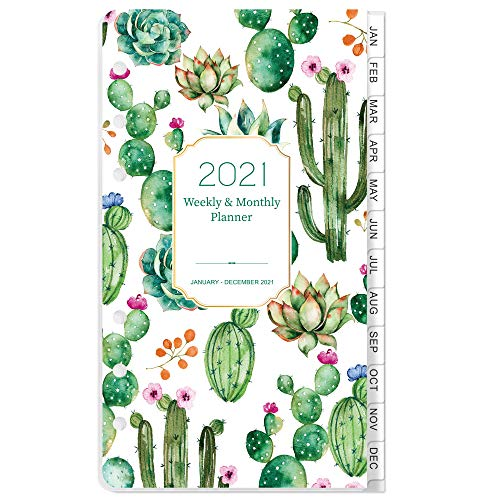 2021 Planner Refill - 2021 Weekly & Monthly Planner Refill, A6 Planner Inserts, 3-3/4' x 6-3/4', Jan 2021-Dec 2021, Loose Leaf Paper, Refill Paper 2021 with Eye-Catching Cover, 6-Hole Punched