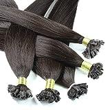 Hair2Heart 50 x 0.5g extensions cheveux keratine à chaud - 30cm, couleur #2 Chocolat foncé, lisse