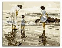 数字でペイントするブラシとアクリル顔料を使ったキット大人のためのDIYキャンバスペインティング初心者母子ビーチで40 * 50cm