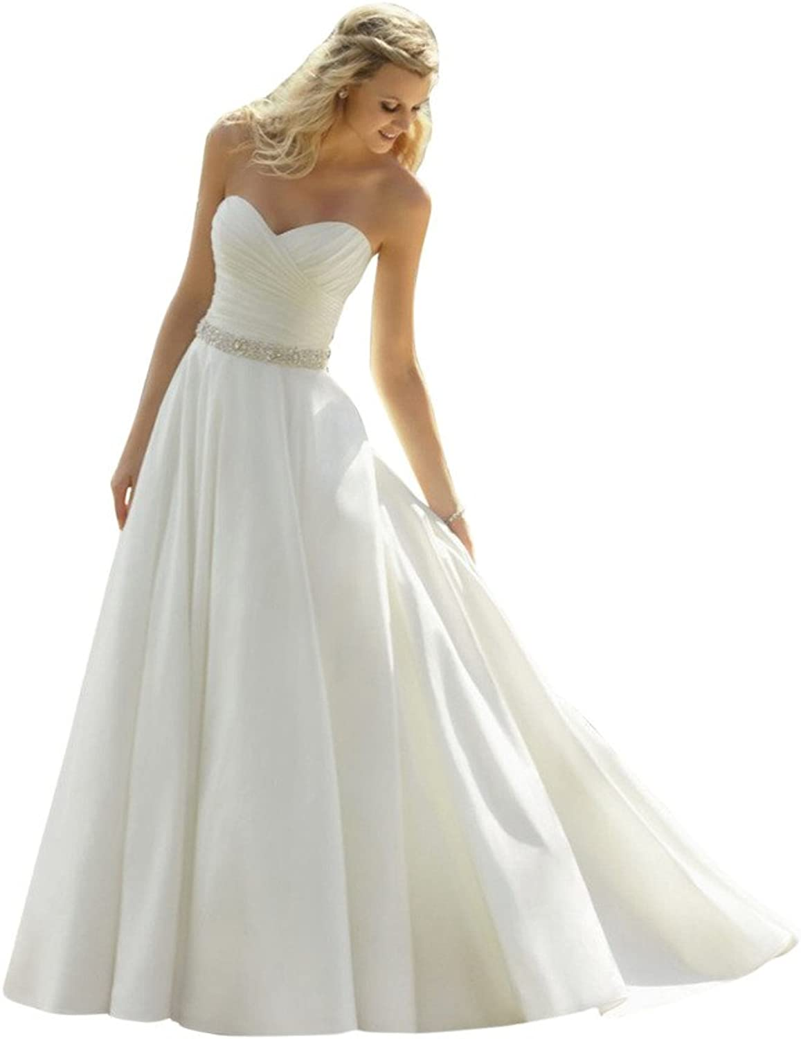 JoyVany Women's Sweetheart Satin Wedding Dress Bridal Gown with Beading Belt
