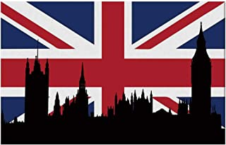 YOLIYANA Union Jack Durable Door Mat,Houses of The Parliament Silhouette on UK Flag Historic Urban Skyline for Home Office,17.7