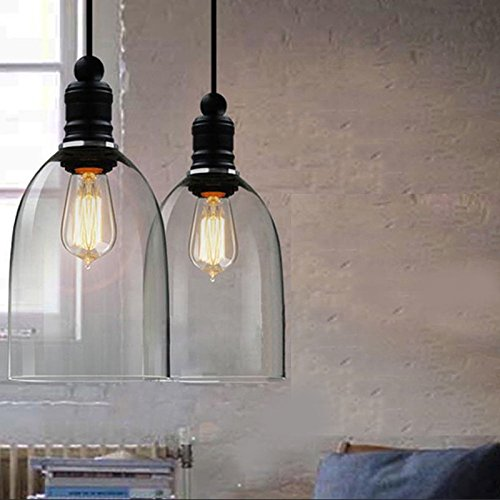 WINSOON Ecopower 1PC Light Vintage Hanging Big Bell Glass...