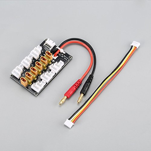 Cable, placa de carga paralela, 6 paquetes Xt30 20A Xt30 enchufe Lipo batería placa de carga paralela para Rc Imax B6 cargador coche Drone parte de carga de equilibrio