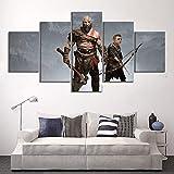 JSBVM 5 Panel HD-Drucke God of War Kratos und Atreus Spiel Poster Dekorativ Gemälde für Wohnzimmer Wand Dekoration,A,30×50×2+30×70×2+30×80×1
