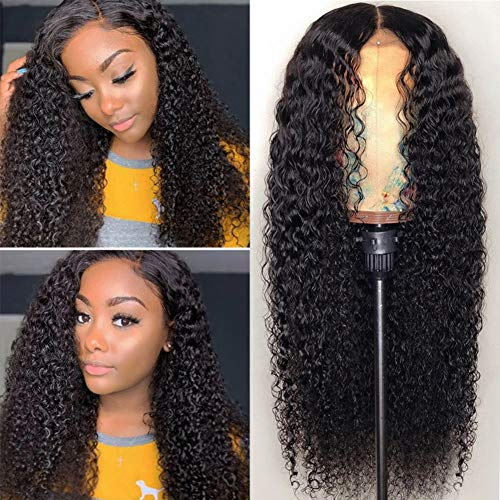 Iris Queen Curly Human Hair Wigs for Black Women 4x4 Lace Front Wigs Brazilian Human Hair Wig with Baby Hair Pre Plucked 150% Density Bleached Knots(18inch Curly)