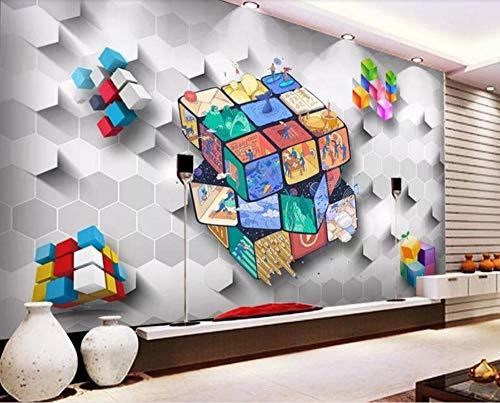 Papel pintado personalizado 3D Rubik's cube block living room decoración de la pared pintura mural @ 430 * 300cm