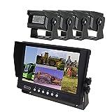 YATEK Set de cámara Marcha atrás y Monitor AHD de 9' + 4 cámaras 1080P para Aparcamiento visión Trasera