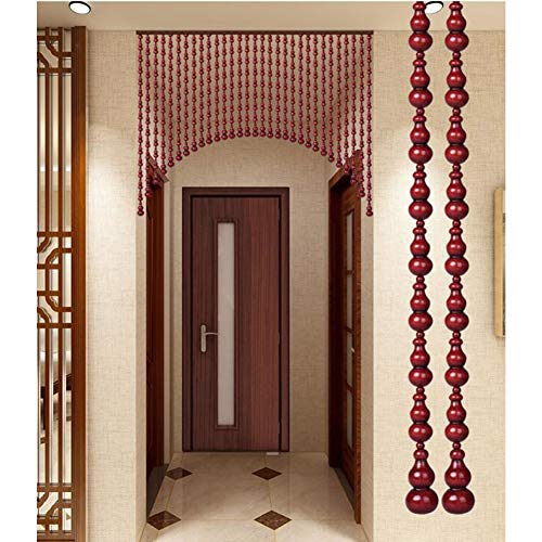 Beaded Curtain Wooden Panel Retro Partition Curtain Room Divider Moisture-proof Stay Away From Flies Pre-assembled Lbalcony Restaurant Decoration (Color : Red, Size : 25Strands H 1.88M)
