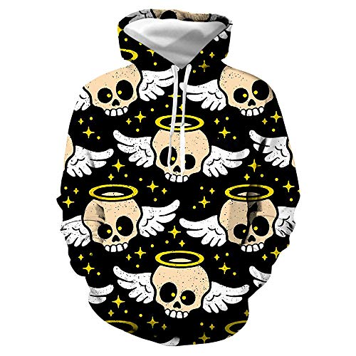 jiuyaomai Sweatshirt Color Skull Wings 3D Maglione con Stampa Pullover con Cappuccio Giacca Uniforme da Baseball 4 3XL