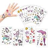 Konsait 175 farbenfrohe Meerjungfrauen temporäre Tattoos Set Haut Sticker Aufkleber Party Tattoos für Mädchen Kinder Spielen Kindergeburtstag Mitgebsel -