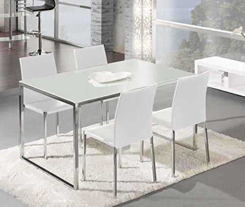 MUEBLIX | Pack 4 Sillas Blancas | Fabricadas en Piel Sintética PU | Elegante y Moderna | Mueble de