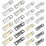 YPLonon - Cierre de Cremallera 24 Piezas Tirador de Cremallera de Repuesto Resistente Cabezal de Cremallera de Aleación de Zinc 4 Colores 2 Tamaños Cremallera Reemplazable para Ropa Bolsa Mochila