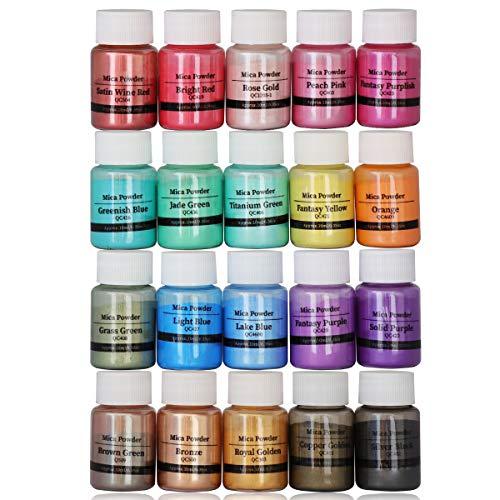 DEWEL Pigmentos para Resina Epoxi,Mica en Polvo Perlada - 10 g,20 Colores
