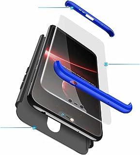 Jtailhne Kompatibel med Fodral Nokia X6 2018, 360° 3 i 1 hårt PC Tunn stöttåligt reptåligt Bumper case Svart Blå & 2X HäRd...