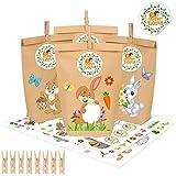 Ostertüten zum Befüllen, 12 Stück Geschenktüten Ostern, Papiertüten Ostermotive, DIY Geschenktüten zu Ostern zum Basteln Kreatives Osternest mit 12 Papiertütens und Osterhasen Aufklebern für Kinder