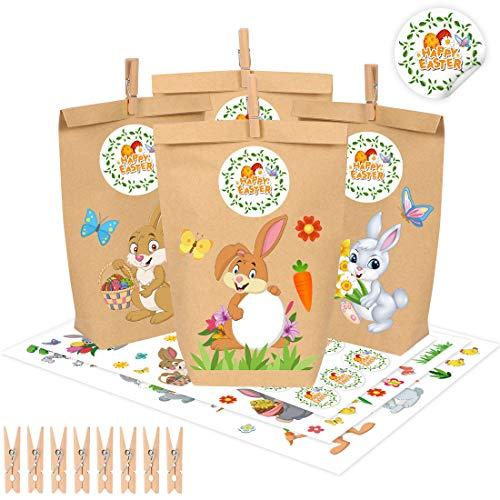 12 Bolsas de Regalo DIY para Pascua, Bolsas de Pascua, Fabricar y Rellenar tú Mismo Cesta de Pascua Creativa con 12 Bolsas de Papel y Pegatinas con Forma de Conejito de Pascua para Manualidades