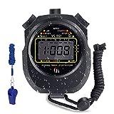Digital Stoppuhr Sport Timer mit Pfeife,Wasserdicht Digital Großbildschirm Stoppuhren,Handheld Chronograph für Fitness, Laufen, Verschiedene Timing-Sportarten