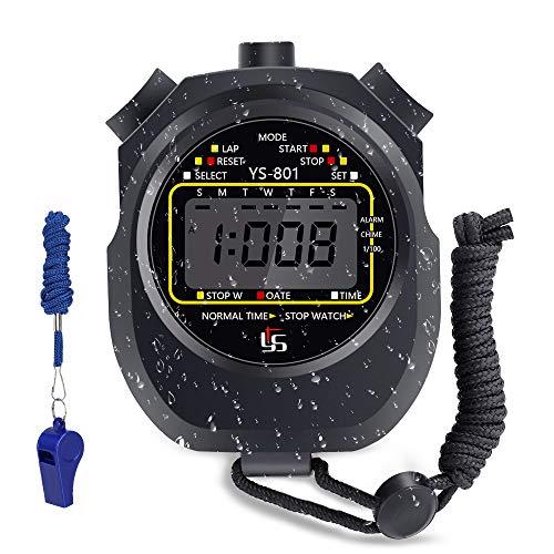 Cronometro Sportivo, Cronometro Timer, Impermeabile Cronografo con Fischietto in Acciaio Inox per Calcio,Pallacanestro,Corsa,Nuoto,Sport allAria Aperta